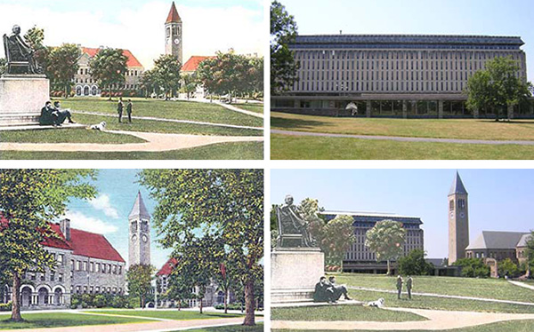 Compare Boardman Hall (left images) with Olin Library (right images)