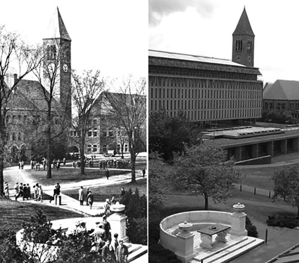 Boardman Hall (left) vs. Olin Library (right)