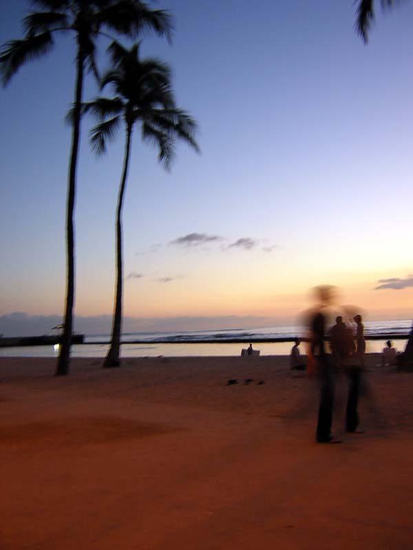 sun rising over waikiki beach