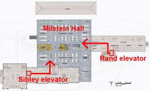 elevators connected to Milstein Hall