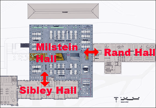 2nd-floor plan, Milstein Hall, Cornell University