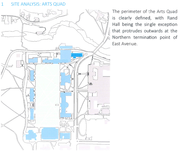 Fig. 2 Site Analysis Arts Quad. Plan has been moved under title and cropped to reduce size and some text has been enlarged for clarity