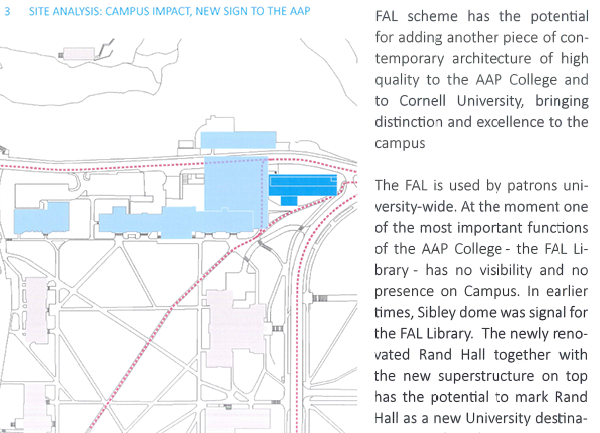 Fig. 5 Site Analysis: Campus Impact, New Sign to the AAP. Image has been cropped to reduce size and some text has been enlarged for clarity