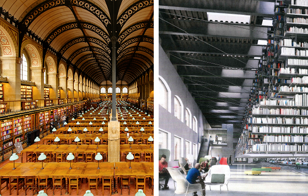 Fig. 13 Compare Henri Labrouste's Bibliothèque Sainte-Geneviève, completed in 1850 (left) with the proposed Fine Arts Library (right)