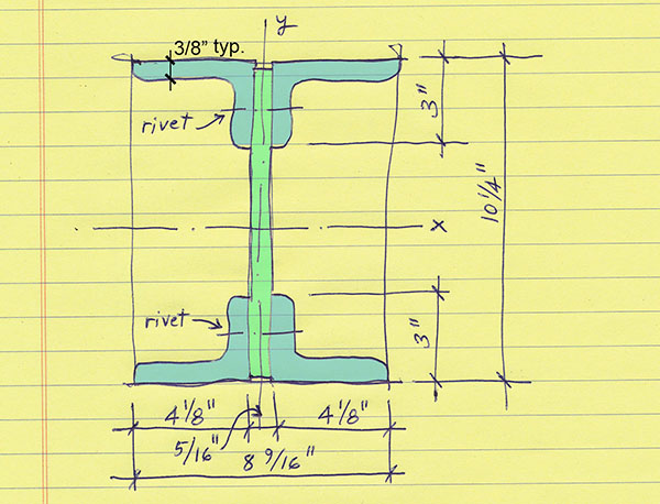 Rand Hall typical 1st-floor column cross section