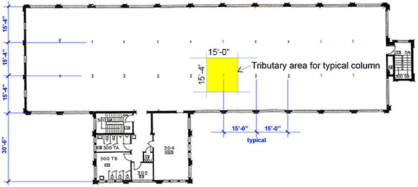 Rand Hall 3rd floor plan showing typical column tributary area