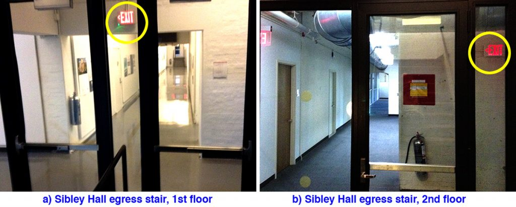 Views of exit signs from inside the E. Sibley Hall egress stair