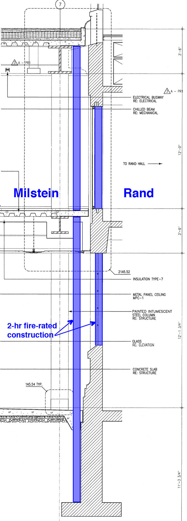 How To Build A Double Fire Wall Between Rand And Milstein Halls Schematic Section Showing 3 Hr Based On 1 Sheet A5 12 Hall Working Drawings No Structural Modifications Either