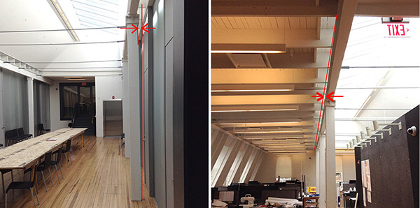 images of Sibley Hall column-girder misalignment