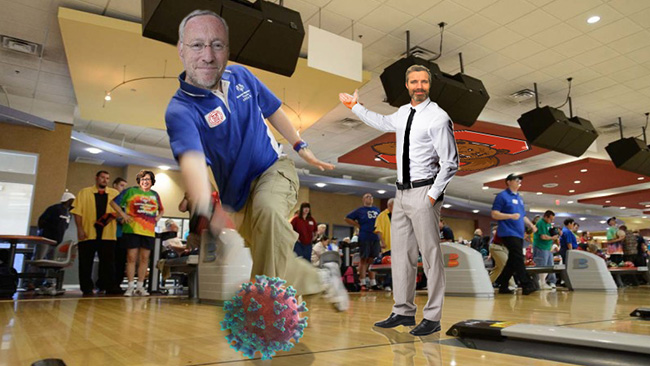 Parody image showing Cornell Provost Kotlikoff bowling with a COVID shpere.