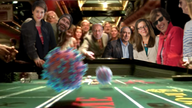 Parody image of Cornell Provost Kotlikoff shooting craps with COVID