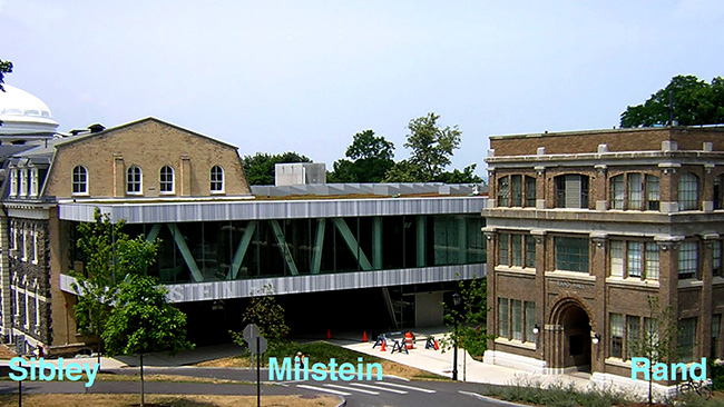 Rand, Sibley, and Milstein Halls at Cornell University